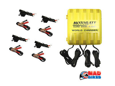 Motobatt Quad Bank Motorcycle Battery Charger, Charge 4 Batteries at  Same Time