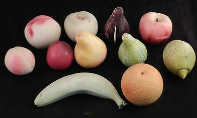 Vintage Italian Marble~Alabaster Lot of 11 Hand Carved Stone Fruit
