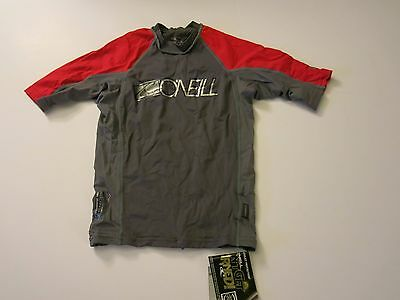 O'Neill Boys 10 Youth Short Sleeve Skins Rash Guard Swim Shirt Gray Red Swim