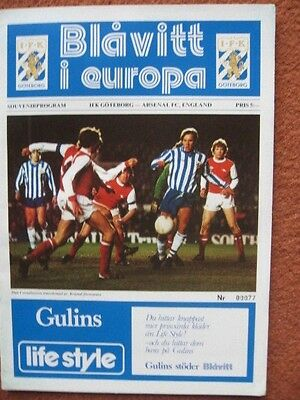 IFK GOTEBORG  v ARSENAL 79-80 European Cup Winners Cup