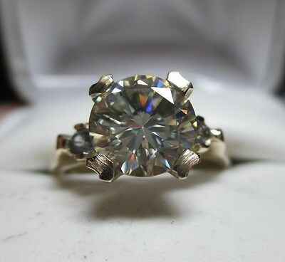 SUper Clean 1.69ct VVS Moissanite & Natural White Zircon 10kt Gold Ring