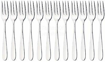 12 x Masterclass Solid Polished Stainless Steel Small Pastry / Dessert Forks