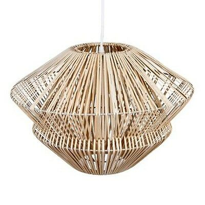 "Paris Prix - Lampe Suspension ""Rotin"" 45cm Beige"