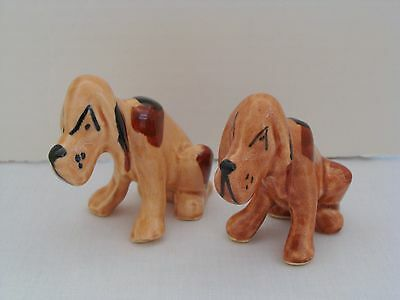 Set Of 2 Grindley Ohio Art Pottery Bloodhound Dog Figurines