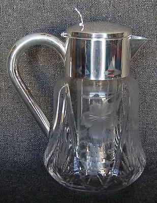 Lovely Vintage German Silver Plate Trimmed Grapes Etched Pitcher W Ice Cylinder