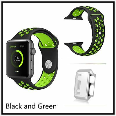 Black Green New Silicone Strap Band For Apple Watch 42mm Silver Protect Case