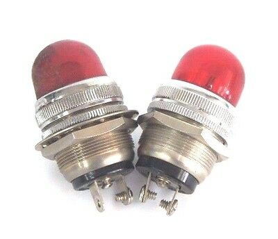 Lot Of 2 Dialco 75W, 125V, Pilot Indicator Lights, Red