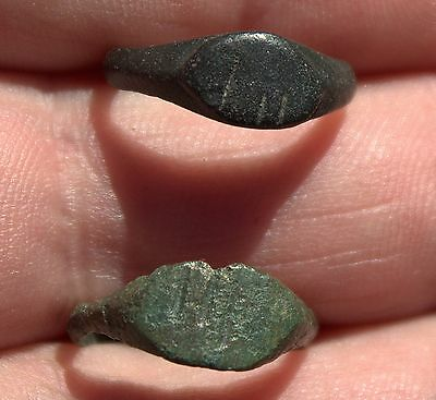 2 Small Bronze Viking Rings With Runes LOT Circa-900-1000 AD