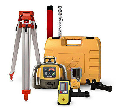 Topcon RL-H4C Self Leveling Rotary Laser Level LD-8 receiver 14 Foot Rod Tripod