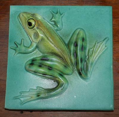 Artist Natalie Surving Life Like Frog High Relief Hand Painted 4X4 Ceramic Tile