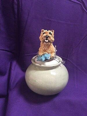 Norwich  terrier Hand Sculpted  Painted Kiln Fired Bowl