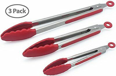 Professional Kitchen Tongs For Outdoor Barbeque or Kitchen Grill Set of 3