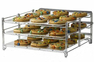 3-Tiered Oven Rack That Bakes Up To 4 Tiers At 1 Time - Folds Flat for Storage
