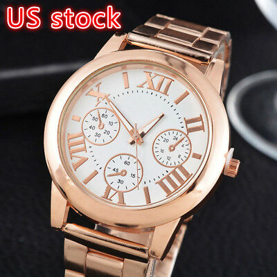Fashion Women Roman Numbers Quartz Analog Alloy Gold Plated Dress Wrist Watch