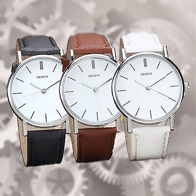 Men's Women's Geneva Leather Analog Dress Casual Quartz Wrist Watch Sturdy