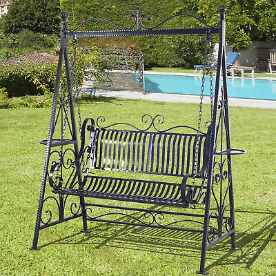 Outdoor Swing Chair Garden Hammock Bench Blossoming Cast Iron Patio Seat Seater