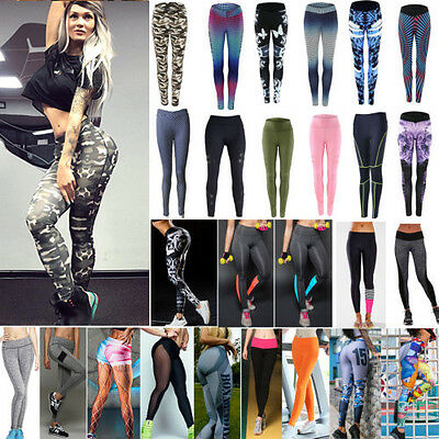 Womens Workout Gym YOGA Fitness Leggings Running Sports Pants Athletic Clothes