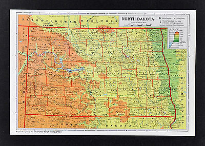 1958 McNally Map - North Dakota - Bismarck Fargo Mandan Grand Fork Minot