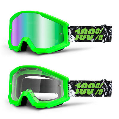 2017 100% Strata Motocross Mx Bike Mtb Goggles Crafty Lime Green