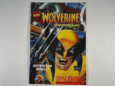 ¤ Wolverine Adamantium Rage ¤ (MANUAL ONLY) GREAT Super Nintendo SNES