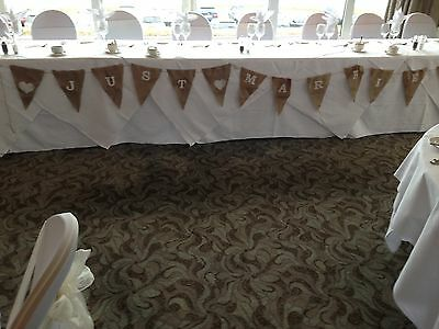3m Just Married Hessian Bunting - 10' rustic/shabby chic style made in cornwall