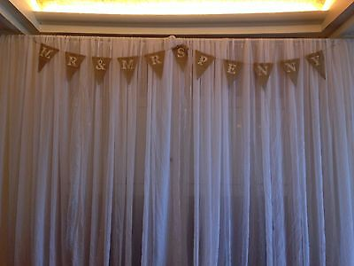 3m Mr & Mrs Hessian Bunting - 10' - rustic wedding style - hand made in cornwall