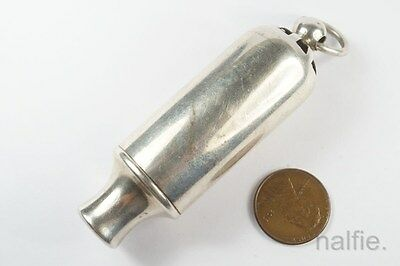 UNUSUAL LARGE ANTIQUE ENGLISH SILVER HUDSON PATENT SIREN WHISTLE c1900