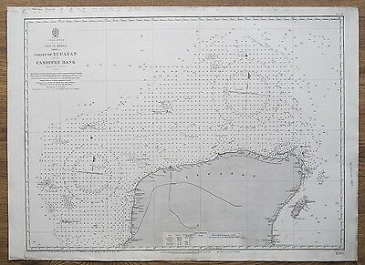 1848 Gulf Of Mexico Coast Of Yucatan Campeche Bank Admiralty Chart Map