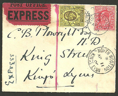 3D + 1D Edward Vii Express Kings Lynn North Wootton 1911 Used Locally 1906