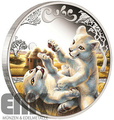 Tuvalu - 50 Cents 2016 - White Lion Cubs - Tierbabys (4.) 1/2 Oz Silber Farbe PP