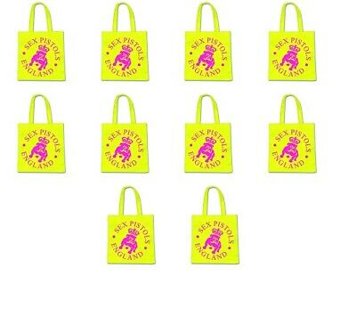 20 Wholesale Job Lot 20 OFFICIAL BAND Punk Pistols Clash ECO Tote Shopping Bags