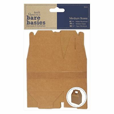 Papermania Bare Basics - Medium Flat Packed Craft Decor Kraft Brown Favour Boxes