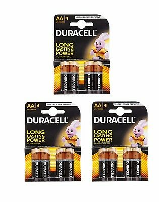 12 Duracell AA MN1500 LR6 MN1500 Alkaline Batteries - 4 Pack x 3 Multi Use