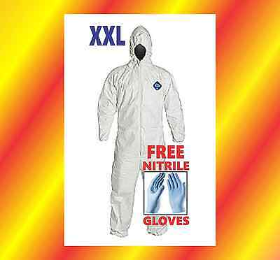 XXL HOOD Tyvek Protective Coverall Suit Paint CleanUp Hazmat FREE Nitrile Glove