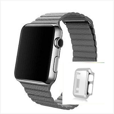 Grey Leather Watch Band Strap Magnetic Buckle Apple Loop 42mm Silver Case x 1