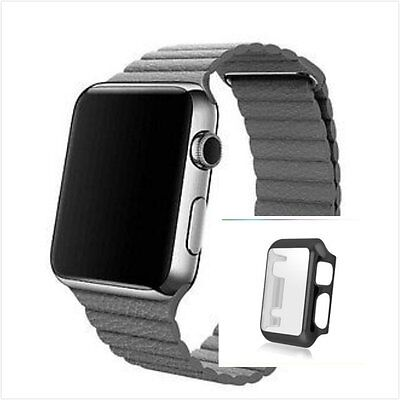 Grey Leather Watch Band Strap Magnetic Buckle Apple Loop 42mm Full Protect Case