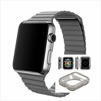 Grey Leather Watch Band Strap Magnetic Buckle Apple Loop 38mm Clear Black Case