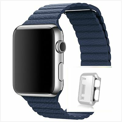 Blue Leather Watch Band Strap Magnetic Buckle Apple Loop 42mm Silver Protect x1