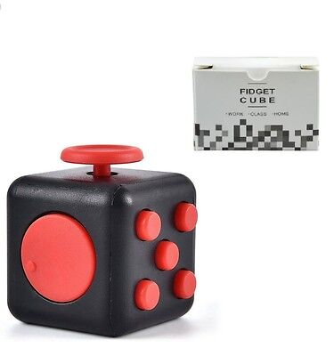 Fidget Cube Anti Stress Executive Toy Latest Craze UK Seller Black Red