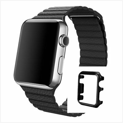 Black Leather Watch Band Strap Magnetic For Apple Loop 42mm Black Colour Case