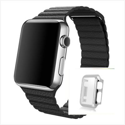 Black Leather Watch Band Strap Magnetic For  Apple Loop 42mm Silver Protect x1