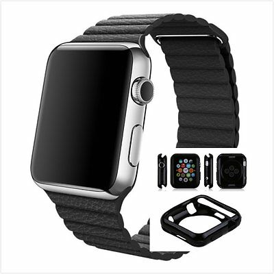 Black Leather Watch Band Strap Magnetic For Apple Loop 38mm w/ Black Case x 1