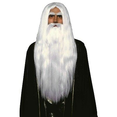 Merlin Wig and Beard Set White Gandalf Saruman Adult Fancy Dress Costume Acsry