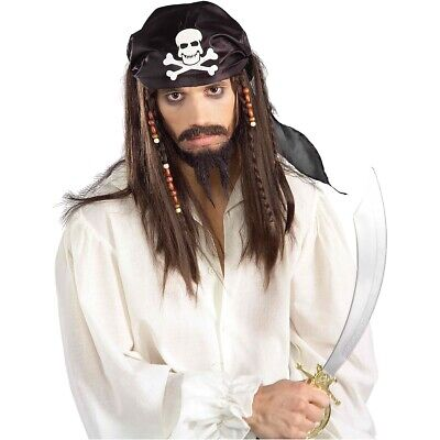 Caribbean Pirate Wig Costume Accessory Adult Halloween