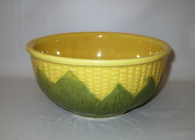 "Shawnee Corn King Mixing Bowl #8 USA Pottery Vintage Corn Ware 8"" Yellow Green"