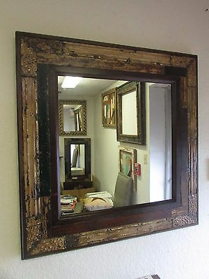 Reclaimed Primitive Mirror-Old Wood-Antique-34x35-Repurposed--Tin-Old World