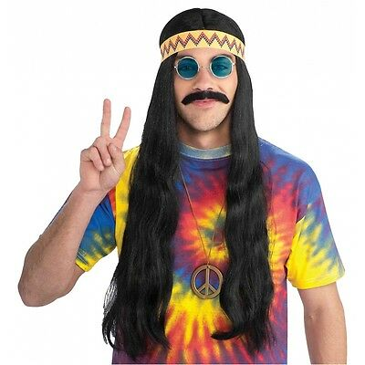 Hippie Dude Wig with Headband Costume Accessory Adult Halloween