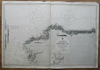 1887 Spain Cape Penas To Pontevedra Old Vintage Admiralty Chart Map