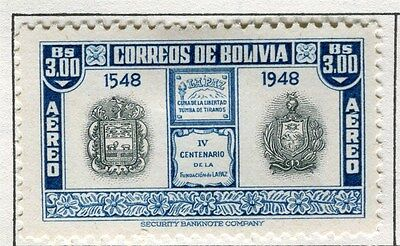 BOLIVIA;  1951 early AIR pictorial issue fine Mint hinged $3.0 value