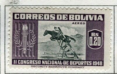 BOLIVIA;  1951 Air Sporting pictorial issue fine Mint hinged $0.20 value